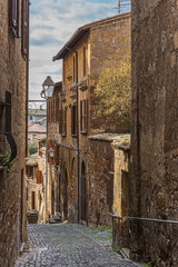 Narrow street in the center of Orvieto, Italy