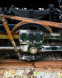 Vintage train locomotive parts cars and roundhouse