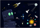 Cosmos space icons vector set isolated on night black background. Satellite, meteorite, planets, astronaut and spaceships