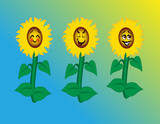 Sunflowers with Happy Cartoon Faces