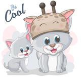 Cute cartoon cat in a girrafe hat