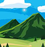 Fototapeta Natura - landscape mountainous scene icon © djvstock