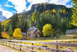 Beautiful autumn colors in  Braies Lake (Pragser Wildsee), Dolomites, Prags Valley - Italy - 246912567