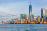 Buildings and skyscrapers of downtown Manhattan over water, in New York City, USA - 246915766