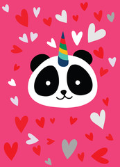 Cute panda with a unicorn horn in the color of the pink heart