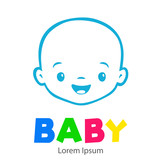 Logotipo con texto BABY con caricatura de cara de bebé lineal en color azul