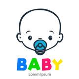 Logotipo con texto BABY con caricatura de cara de bebé lineal color gris y chupete color azul