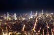 Aerial View Of Manhattan City At Night