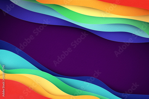 Creative abstract banner illustration. rainbow colored waves made of