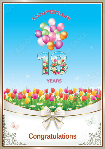Birthday Card 18 Years With Natural Floral Background And Balloons