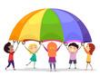 Stickman Kids Play Parachute Illustration