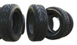 Leinwanddruck Bild - Group black tires, isolated
