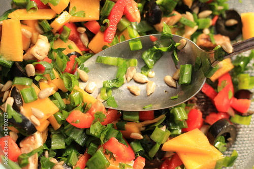 vegetable salad and spoon - 247002127