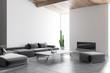 Leinwandbild Motiv White living room corner, gray sofa
