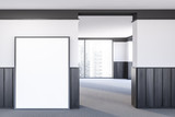 Empty white and wooden room with poster - 247005784