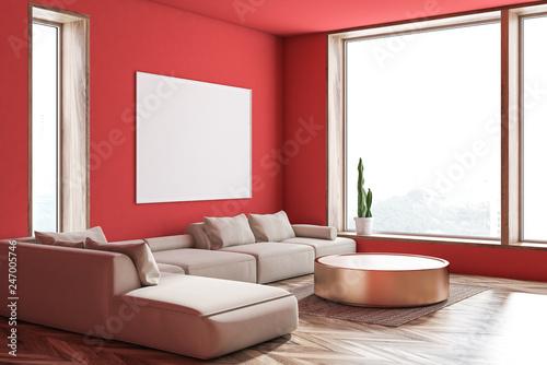 Leinwanddruck Bild Red living room corner, sofa and poster