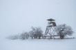 Leinwandbild Motiv Lookout tower in winter landscape during snowing. Hunting tower and trees in blizzard and clouds.