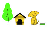 The dog sits next to the doghouse, a tree and a bowl. Cute puppy with large ears bowed his head to one side.