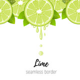 Realistic lime slice seamless border isolated on white. Fresh citrus with juice drops vector illustration