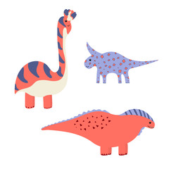Cute vector dinosaurs isolated on white background. Dino vector