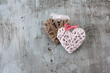 Valentine's day Retro top view, wooden decorative objects, Love background