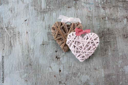 Leinwandbild Motiv Valentine's day Retro top view, wooden decorative objects, Love background