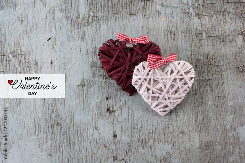 Happy Valentine's day Text  Retro top view, wooden decorative objects, Love background - 247038743
