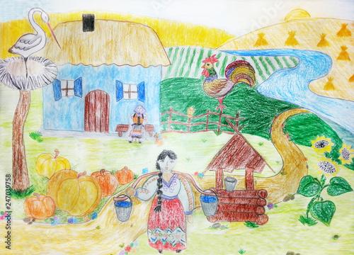Leinwanddruck Bild Drawing rural landscape. Farm, agriculture scene.