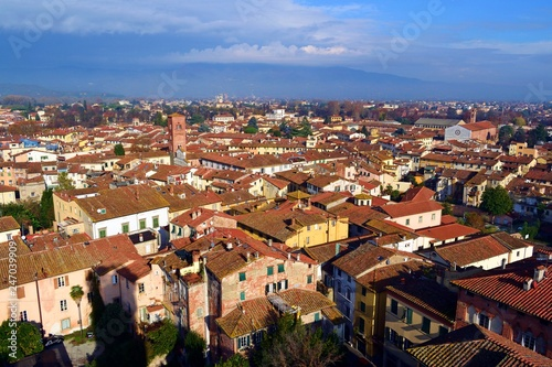 veduta dall'alto del centro storico della città italiana di Lucca vista dalla medievale Torre Guinigi © Simona Bottone