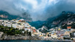 Positano view from the ocean, on the way to Capri, Amalfi coast, Italy. - 247040949