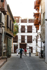 Old Arabian wooden houses in Jeddah, Saudi Arabia, Al-Balad old Arabian town