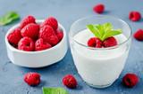 Greek yougurt with fresh raspberries and mint