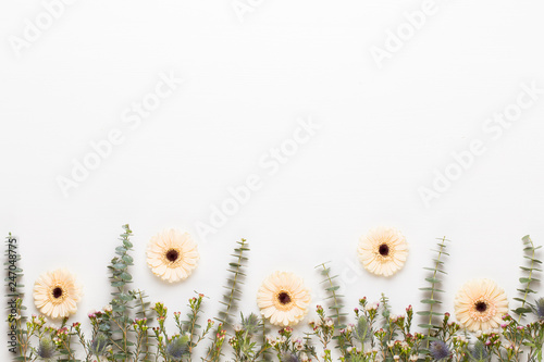 Spring greeting card, pastel color gerbera flowers on the white background. - 247048775