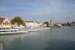canvas print picture - Hafen in Lindau mit Mangturm
