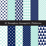 Navy Blue, Aqua and White Geometric Patterns. Modern Backgrounds in Diamond, Chevron, Polka Dot, Checks, Stars, Triangles, Herringbone & Stripes. Repeating Pattern Tile Swatches Included. - 247078944