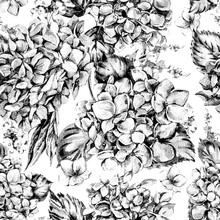 "Постер, картина, фотообои ""Summer MonochromeWatercolor Vintage Floral Seamless Pattern with Blooming Hydrangea"""