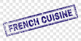 FRENCH CUISINE stamp seal print with rubber print style and double framed rectangle shape. Stamp is placed on a transparent background. - 247087185