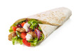 Leinwandbild Motiv Tortilla wrap with fried chicken meat and vegetables