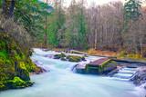 Long exposure shot of Stamp River Falls in Port Alberni, Canada - 247095960