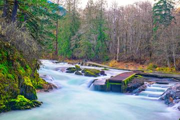 Long exposure shot of Stamp River Falls in Port Alberni, Canada