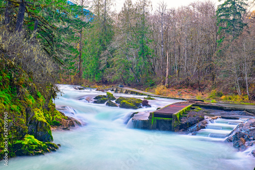 Long exposure shot of Stamp River Falls in Port Alberni, Canada