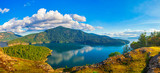 Panoramic view of Maple Bay and Gulf Islands in Vancouver Island, Canada