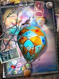 Mongolfiera steampunk in un paesaggio surreale con francobolli antichi