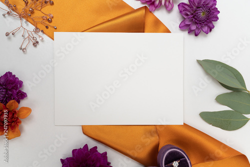 Fall wedding stationary flat lay background