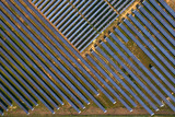 Aerial photography beautiful outdoor solar photovoltaic panel with green plants