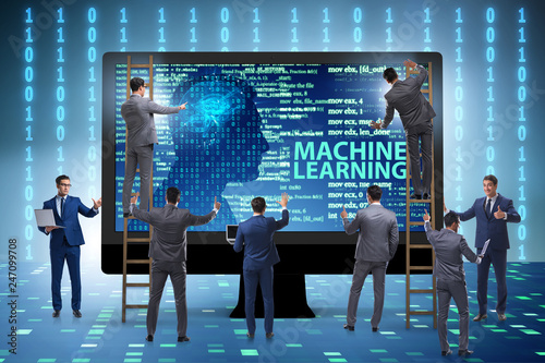 Leinwanddruck Bild Machine learning concept as modern technology