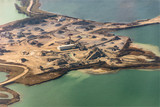 vue aérienne d'une carrière de sable dans la Baie de Somme en France - 247111301