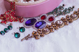 Shopping concerts. Ideas and gift for women. Vintage fashionable set with jewelry, stones and accessories.