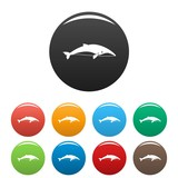 Sea whale icons set 9 color vector isolated on white for any design