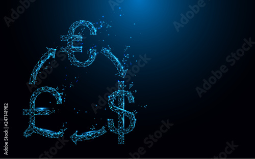 Money exchange icon from lines, triangles and particle style design. Illustration vector